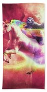 Epic Space Sloth Riding On Unicorn Bath Towel