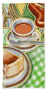 Eroica Britannia Bakewell Pudding And Cup Of Tea On Green Hand Towel