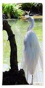 Ethereal Snowy Egret Bath Towel
