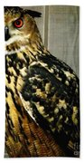 Eurasian Eagle-owl With Oil Painting Effect Bath Towel