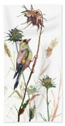 European Goldfinch In The Field Bath Towel
