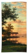 Evening Atmosphere By The Lakeside Bath Towel