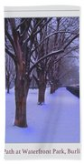 Evening Snow Path At Waterfront Park Burlington Vermont Poster Greeting Card Bath Towel