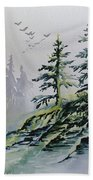 Evergreens In The Mist Bath Towel