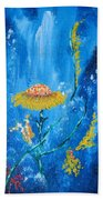Exotic Colorful Flowers Abstract Composition Bath Towel