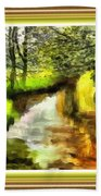 Expressionist Riverside Scene L A With Decorative Ornate Printed Frame Bath Towel
