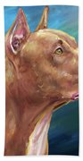 Expressive Painting Of A Red Nose Pit Bull On Blue Background Bath Towel