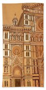 Faced Of Florence Cathedral  Bath Towel