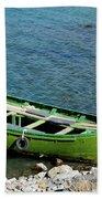 Faded Green Yellow Motor Power Boat Parked At Satpara Lake Pakistan Bath Towel