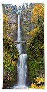 Fall Colors At Multnomah Falls Bath Towel