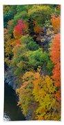 Fall Foliage In Hudson River 1 Bath Towel