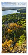 Fall Forest And Lake Top View Bath Towel