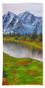 Fall In Mountains Landscape Oil Painting Bath Towel