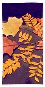 Fall Leaves On Granite Counter Hand Towel