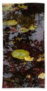 Fall Pond Reflections - A Story Of Waterlilies And Japanese Maple Trees - Take One Bath Towel