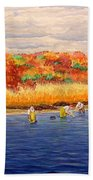 Fall Shellfishing In New England Bath Towel
