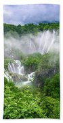Falls Through The Fog - Plitvice Lakes National Park Croatia Bath Towel