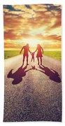 Family Walk On Long Straight Road Towards Sunset Sun Bath Towel