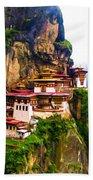 Famous Tigers Nest Monastery Of Bhutan 11 Bath Towel