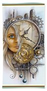 Fantasy Art - Time Encaptulata For A Woman's Face, Clock, Gears And More. L A S With Ornate Frame. Bath Towel