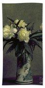 Fantin-latour: Peonies, 1872 Bath Towel