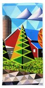 Farm With Three Pines And Cow Bath Towel