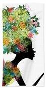 Fashion Girl With Hair Arabesque Bath Towel
