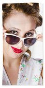 Fashionable Woman In Sun Shades Bath Towel
