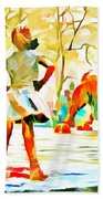 Fearless Girl And Wall Street Bull Statues 6 Watercolor Bath Towel