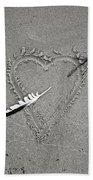 Feather Arrow Through Heart In The Sand Bath Towel
