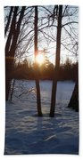 February Sunrise Alongside A Tree Bath Towel