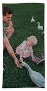 Feeding Ducks With Daddy Hand Towel