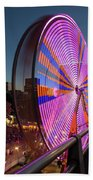 Ferris Wheel At Fun Fair In Downtown Portland Oregon Hand Towel