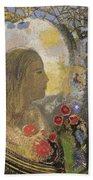Fertility. Woman In Flowers Hand Towel