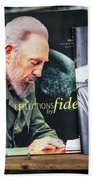 Fidel At The Used Book Sellers Market Bath Towel