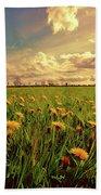Field Of Dandelions At Sunset Bath Towel