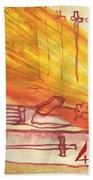 Fiery Four Of Swords Illustrated Bath Towel