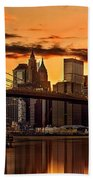 Fiery Sunset Over Manhattan  Bath Towel