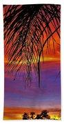Fiery Sunset With Palm Tree Bath Towel