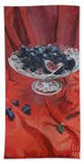 Figs And Grapes On Red  Bath Towel