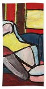 Figure On Couch Bath Towel