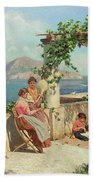 Figures On A Terrace In Capri  Bath Towel