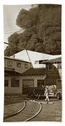 Fire At Cannery Row, Custom House Packing Company Sea Beach Cannery 1953 Bath Towel