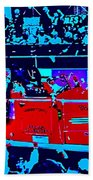 Fire Engine Red In Blue Bath Towel