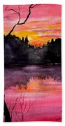 Fire In The Sky    Lake Arrowhead Maine Bath Towel