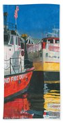 Fireboat And Ferries Hand Towel