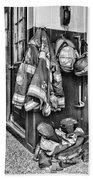 Fireman - Always Ready - Black And White Bath Towel