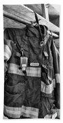 Fireman - Saftey Jacket Black And White Bath Towel