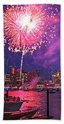 Fireworks Over The Boston Skyline Boston Harbor Illumination Bath Towel