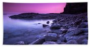 First Light On The Rocks At Indian Head Cove Bath Towel